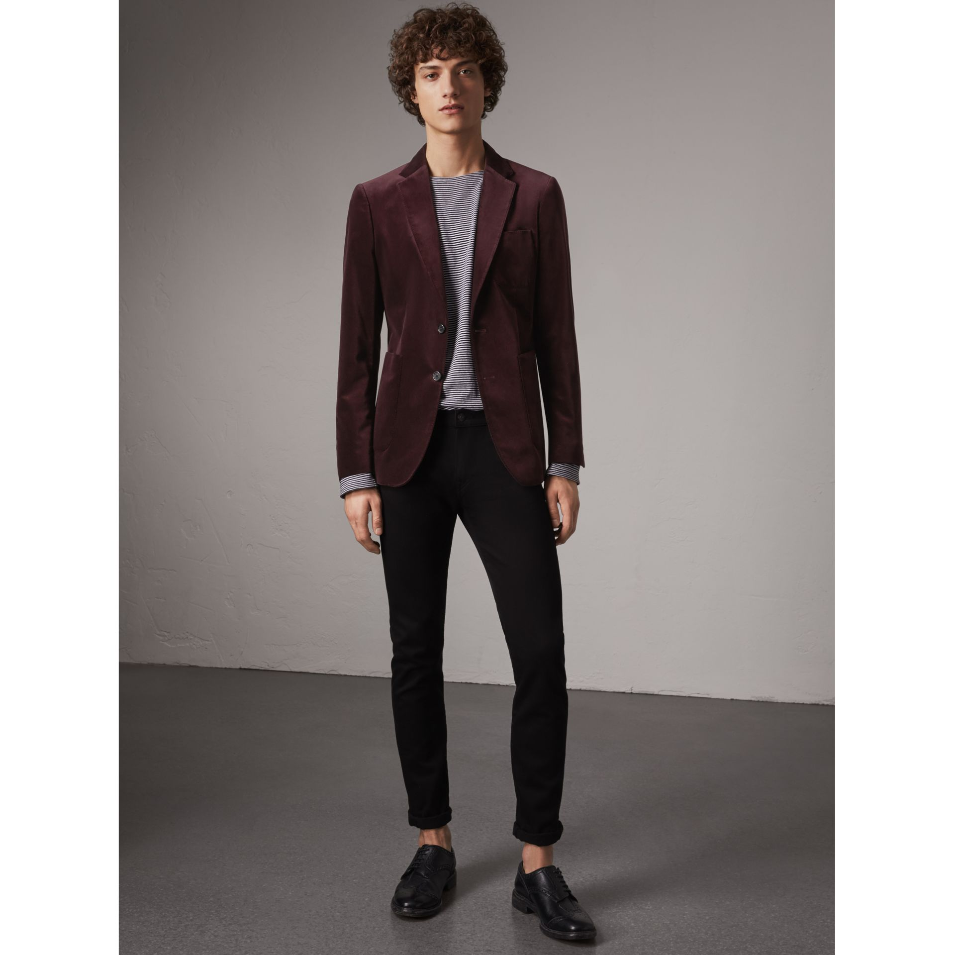 Soho Fit Velvet Tailored Jacket in Blackcurrant - Men | Burberry - gallery image 1