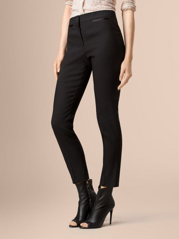 Black Slim Fit Tailored Tuxedo Trousers - cell image 2