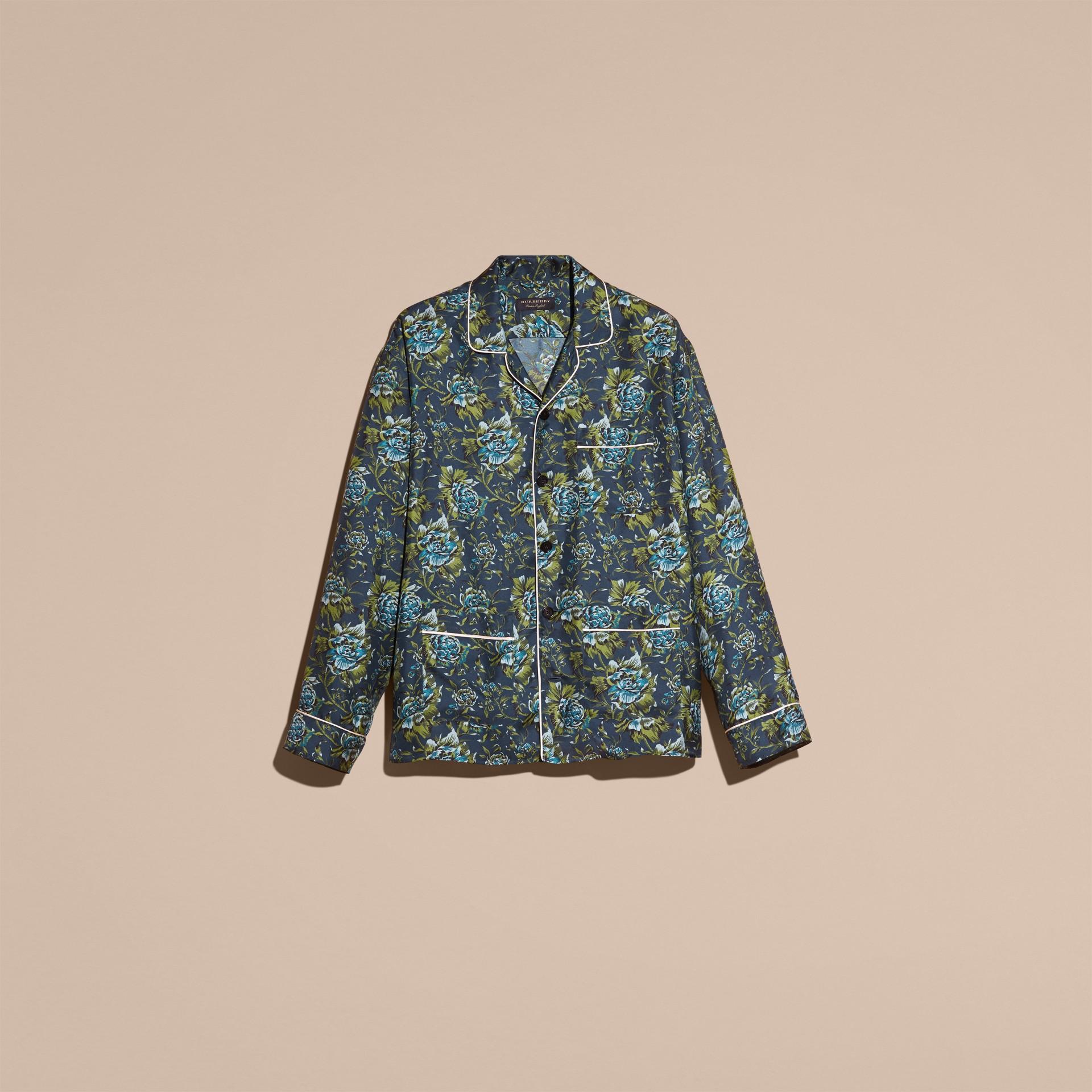 Peony Rose Silk Twill Pyjama-style Shirt - gallery image 4