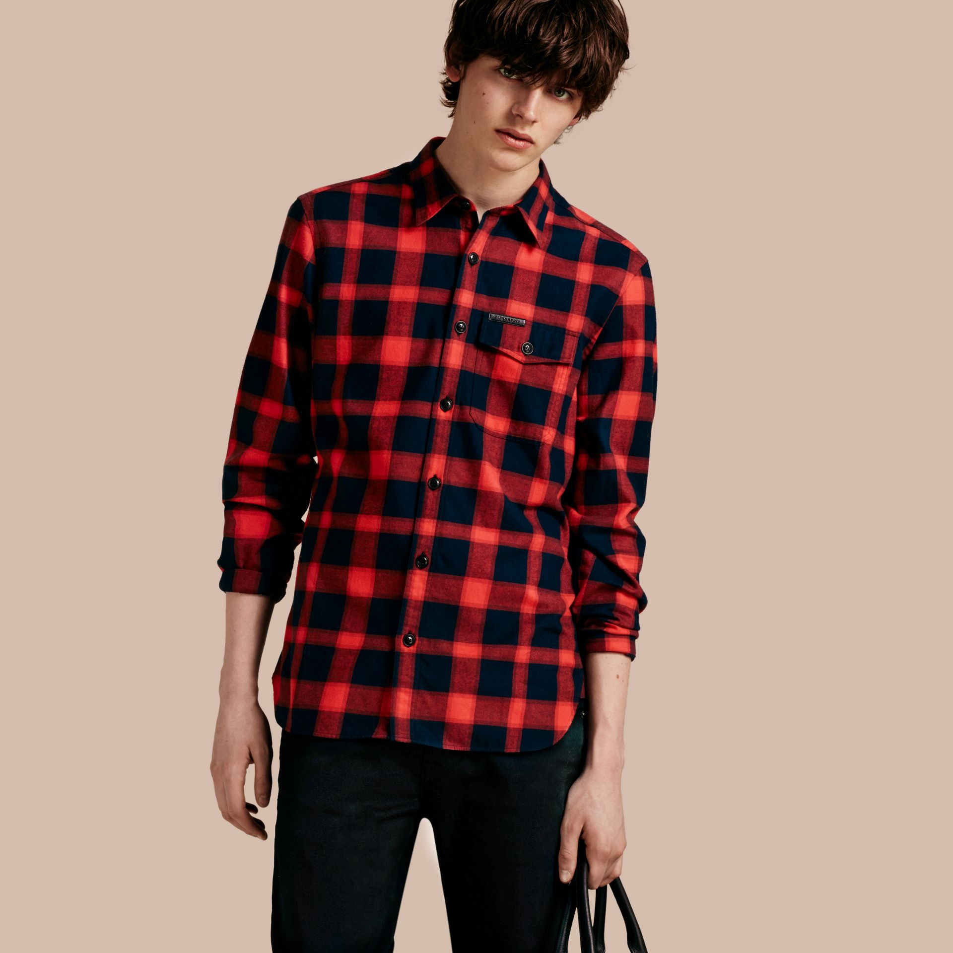 Parade red Buffalo Check Cotton Flannel Shirt Parade Red - gallery image 1
