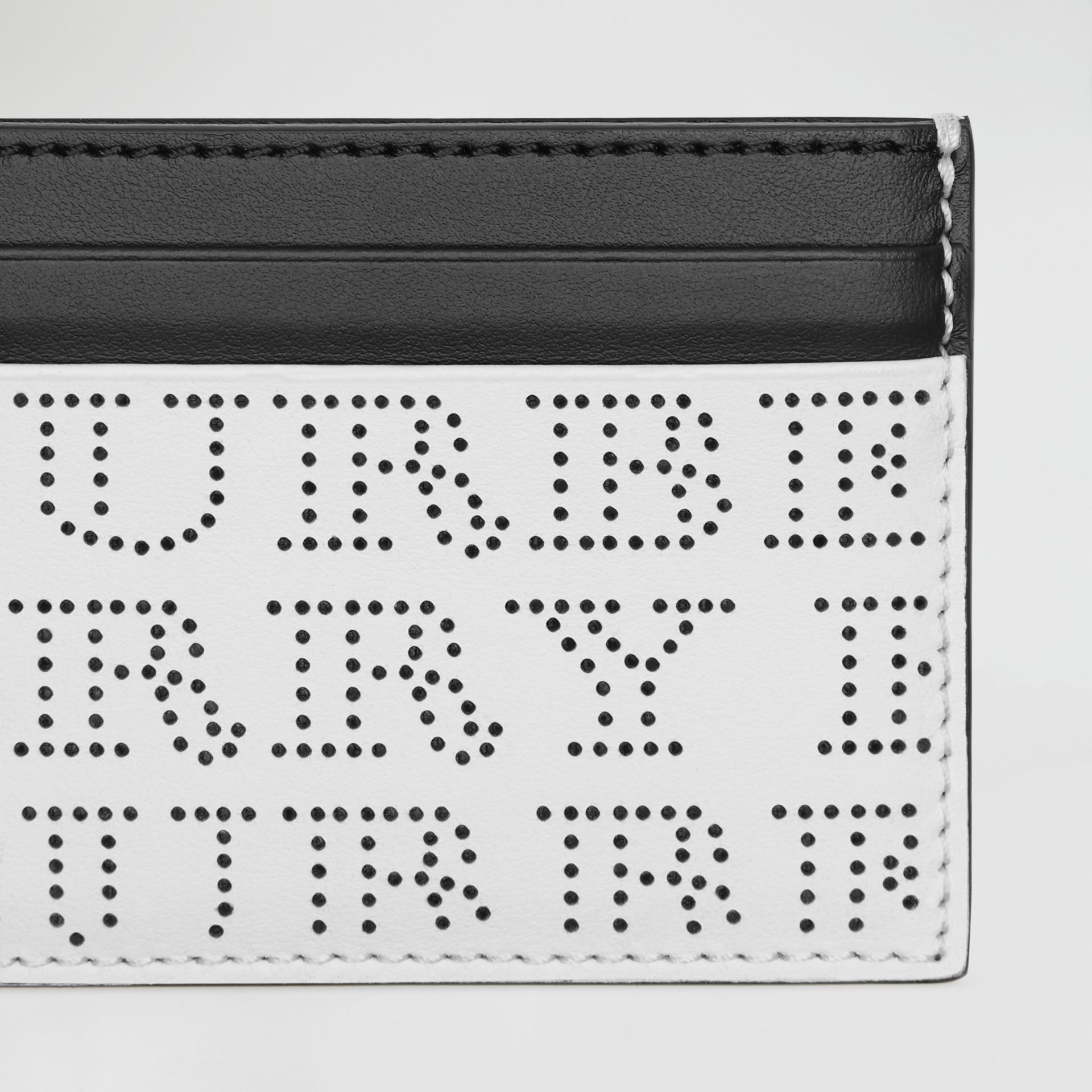 Perforated Logo Leather Card Case in Optic White - Men | Burberry Hong Kong - gallery image 1