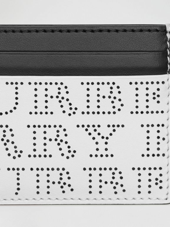Perforated Logo Leather Card Case in Optic White - Men | Burberry Singapore - cell image 1