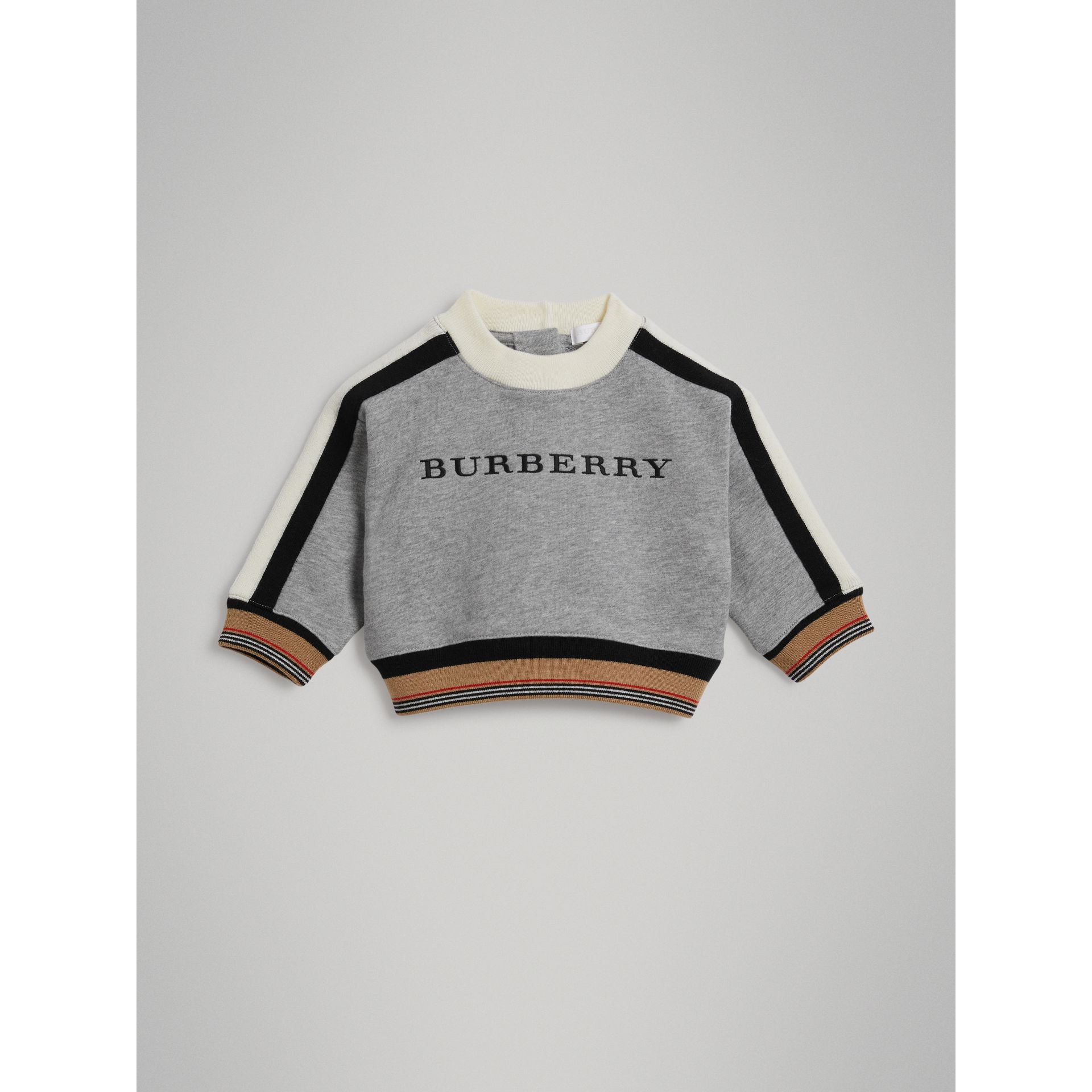 Embroidered Logo Cotton Sweatshirt in Grey Melange | Burberry - gallery image 0