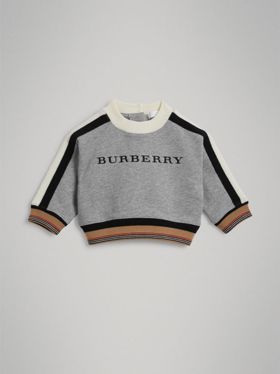 Embroidered Logo Cotton Sweatshirt in Grey Melange