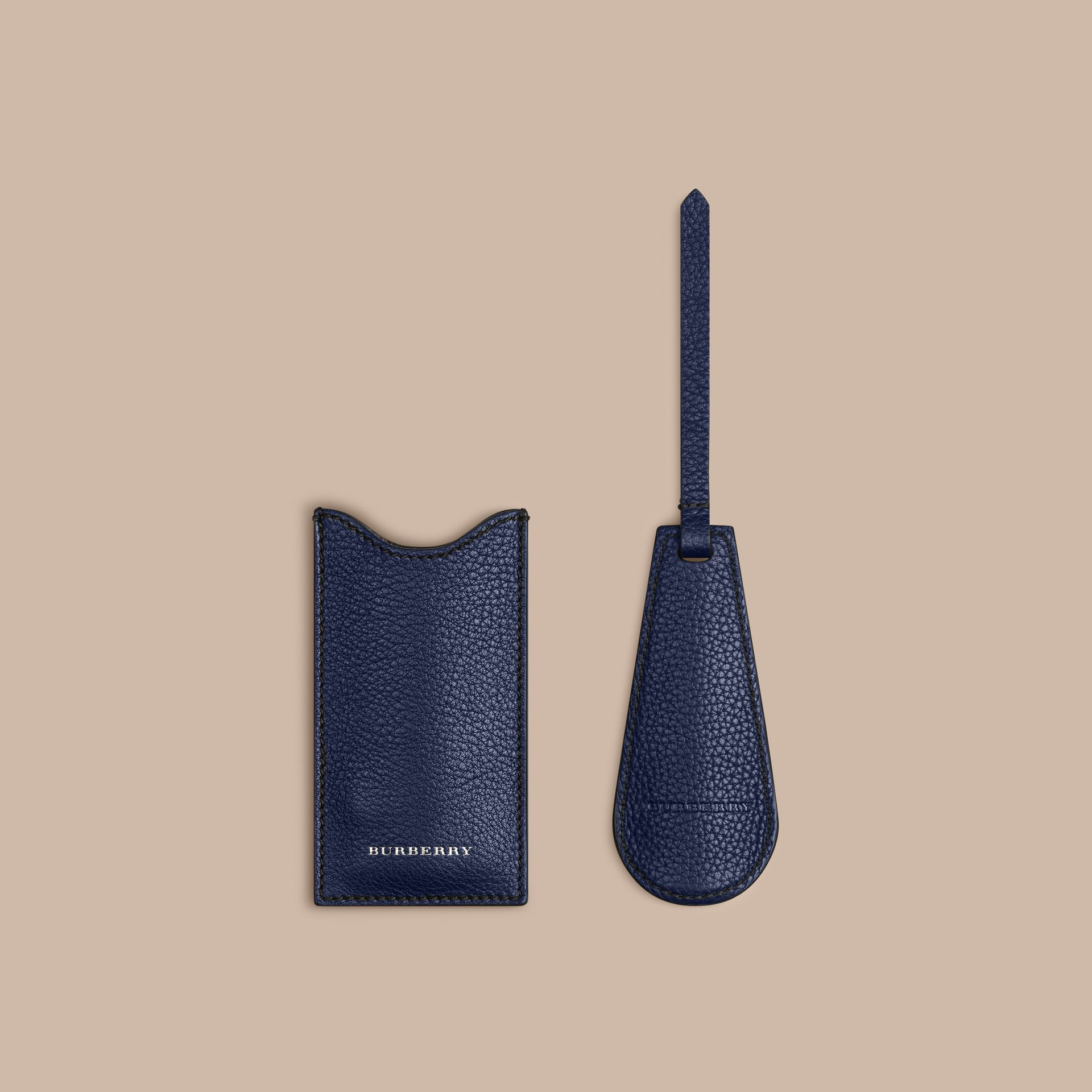 Leather Shoe Horn in Bright Navy - gallery image 3