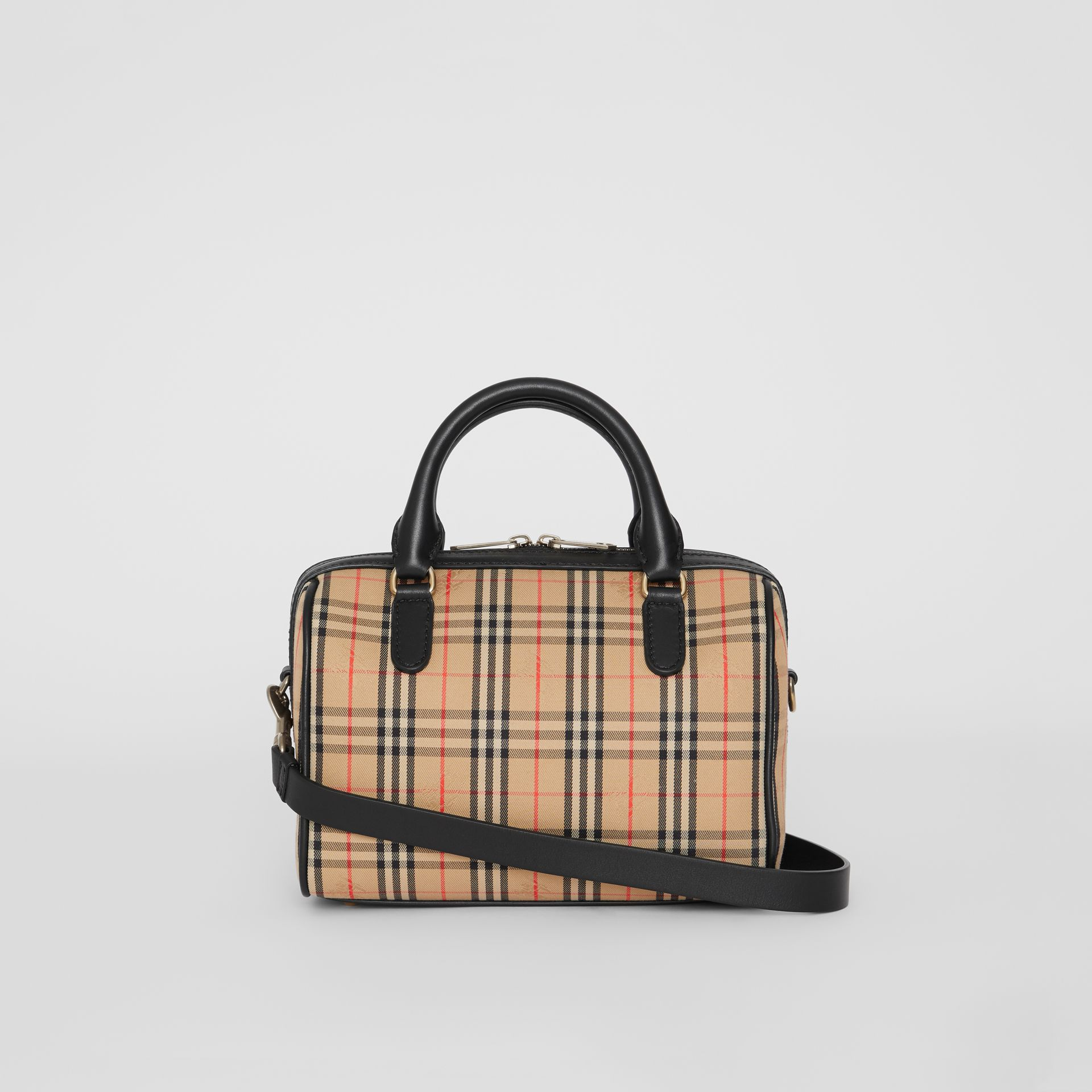 The Small 1983 Check Link Bowling Bag in Black - Women | Burberry - gallery image 7