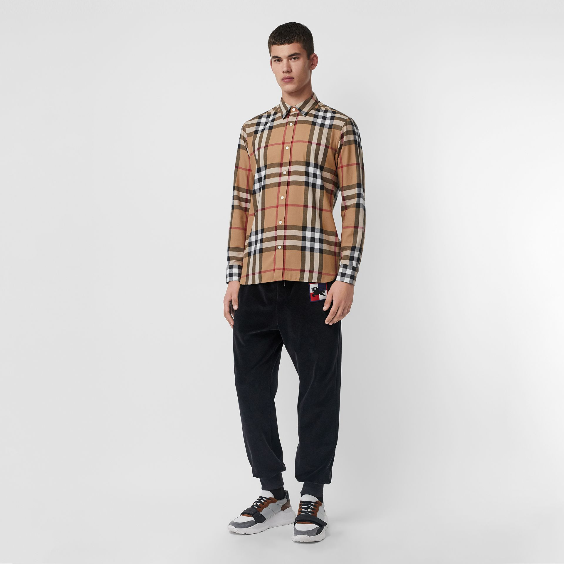 Check Cotton Flannel Shirt in Camel - Men | Burberry Singapore - gallery image 0