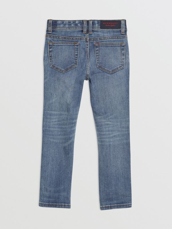 Skinny Fit Stretch Denim Jeans in Mid Indigo - Girl | Burberry United Kingdom - cell image 3