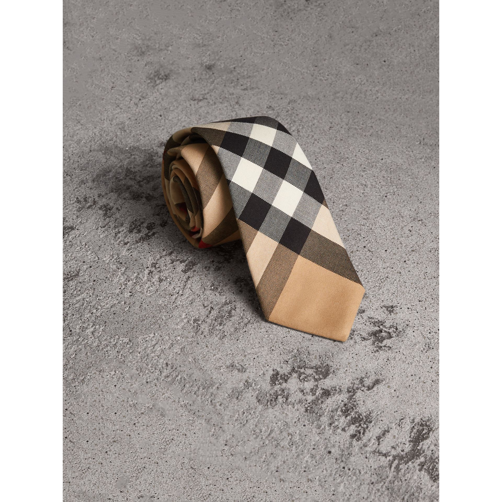 Modern Cut Check Cotton Cashmere Tie in Camel - Men | Burberry - gallery image 1