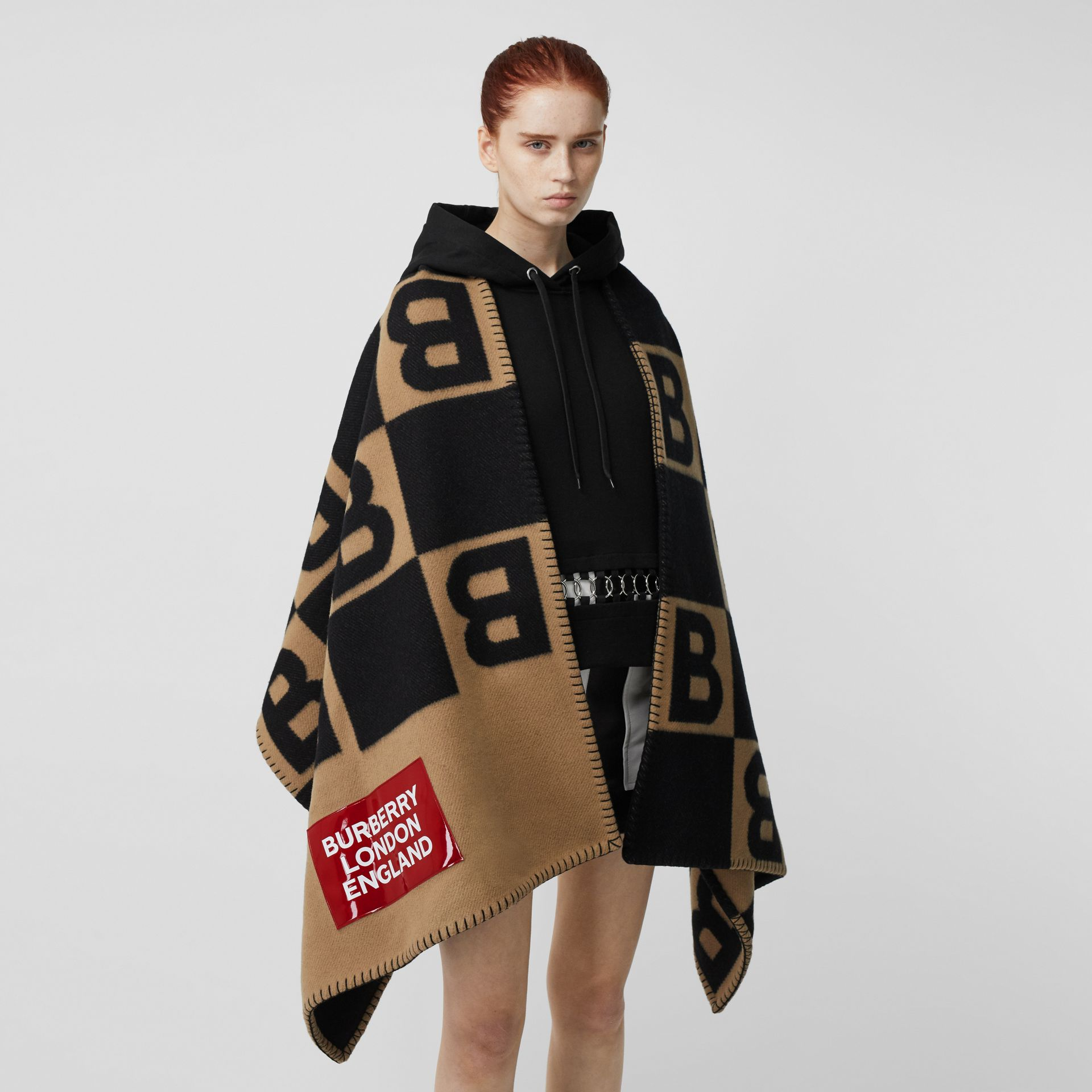 Reversible B Motif Wool Cashmere Blanket Cape in Archive Beige | Burberry United Kingdom - gallery image 6
