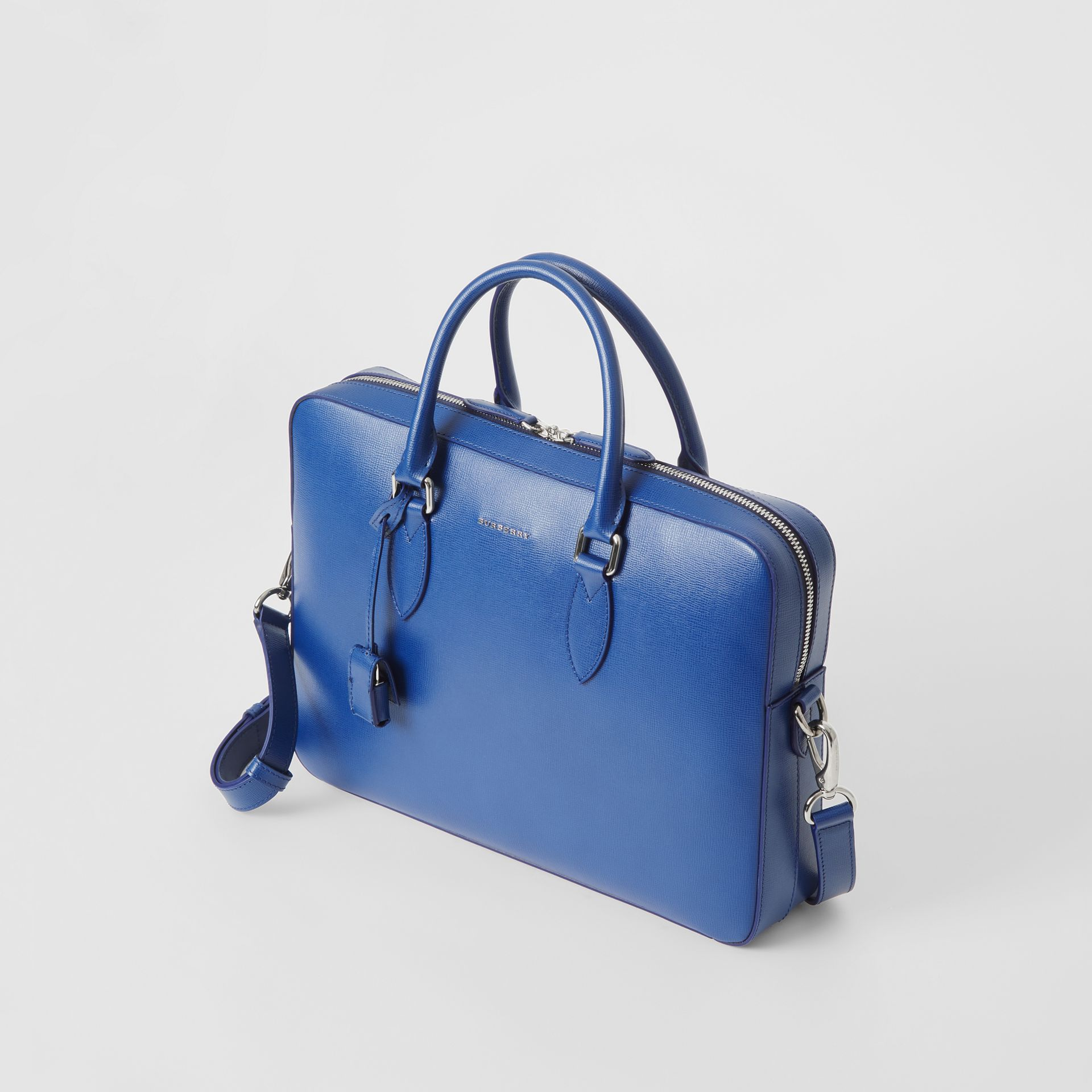 London Leather Briefcase in Deep Blue - Men | Burberry - gallery image 7