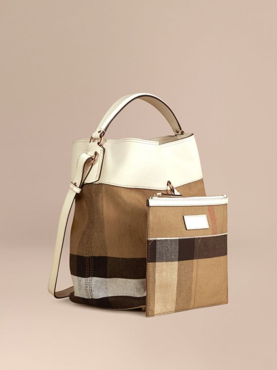 White/white The Medium Ashby in Canvas Check and Leather White/white - cell image 3