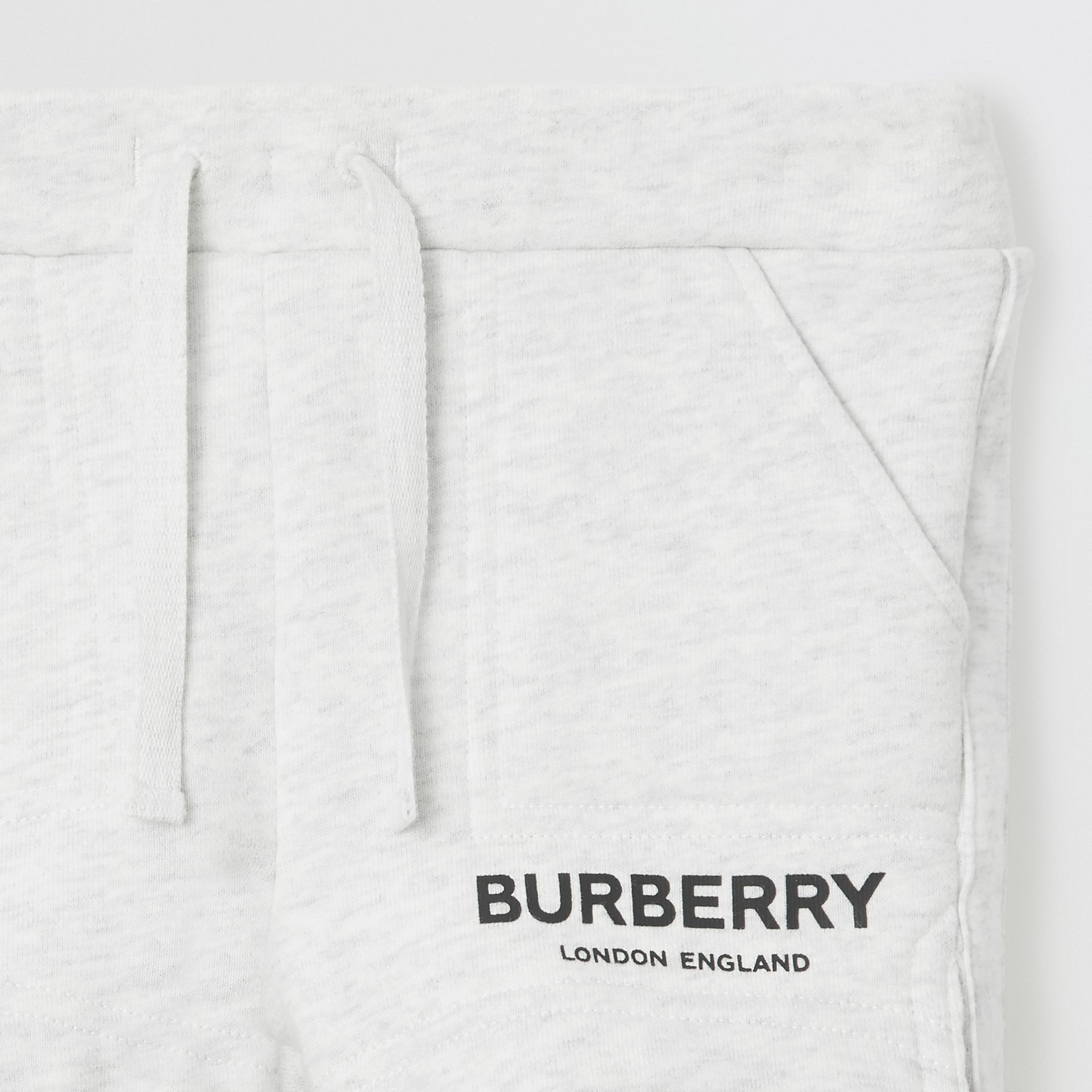 Logo Print Cotton Drawcord Shorts in White Melange - Children | Burberry United Kingdom - gallery image 5