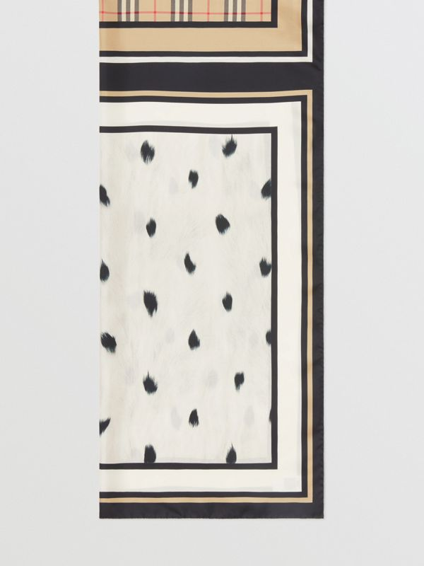 Vintage Check and Animal Print Silk Scarf in Archive Beige - Women | Burberry United States - cell image 3