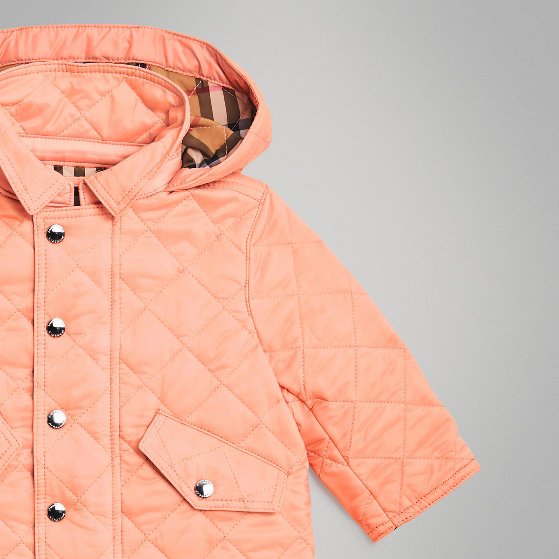 Diamond Quilted Hooded Jacket in Apricot Pink - Children | Burberry - gallery image 4