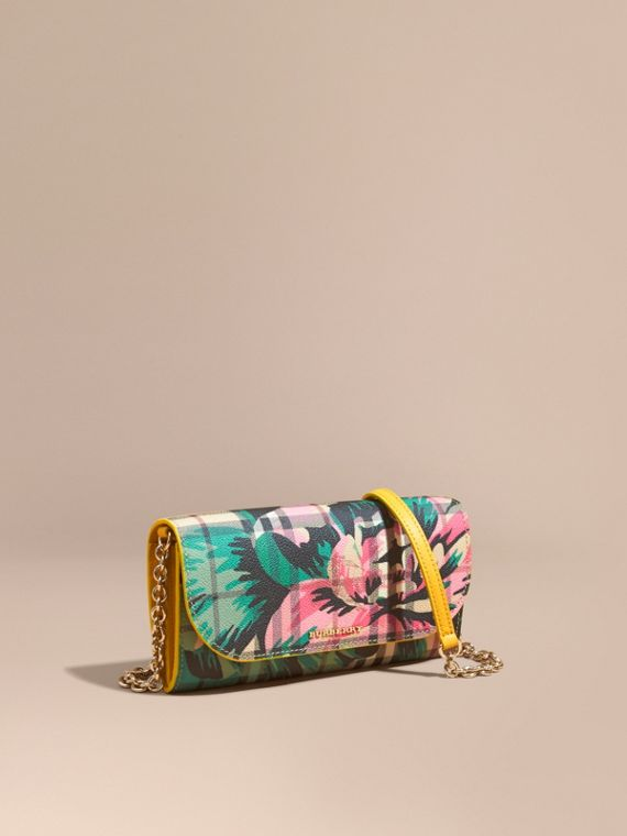 Peony Rose Print Haymarket Check Wallet with Chain Larch Yellow/emerald Green