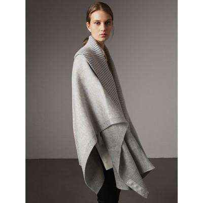 shawl collar wool cashmere poncho in mid grey melange. Black Bedroom Furniture Sets. Home Design Ideas