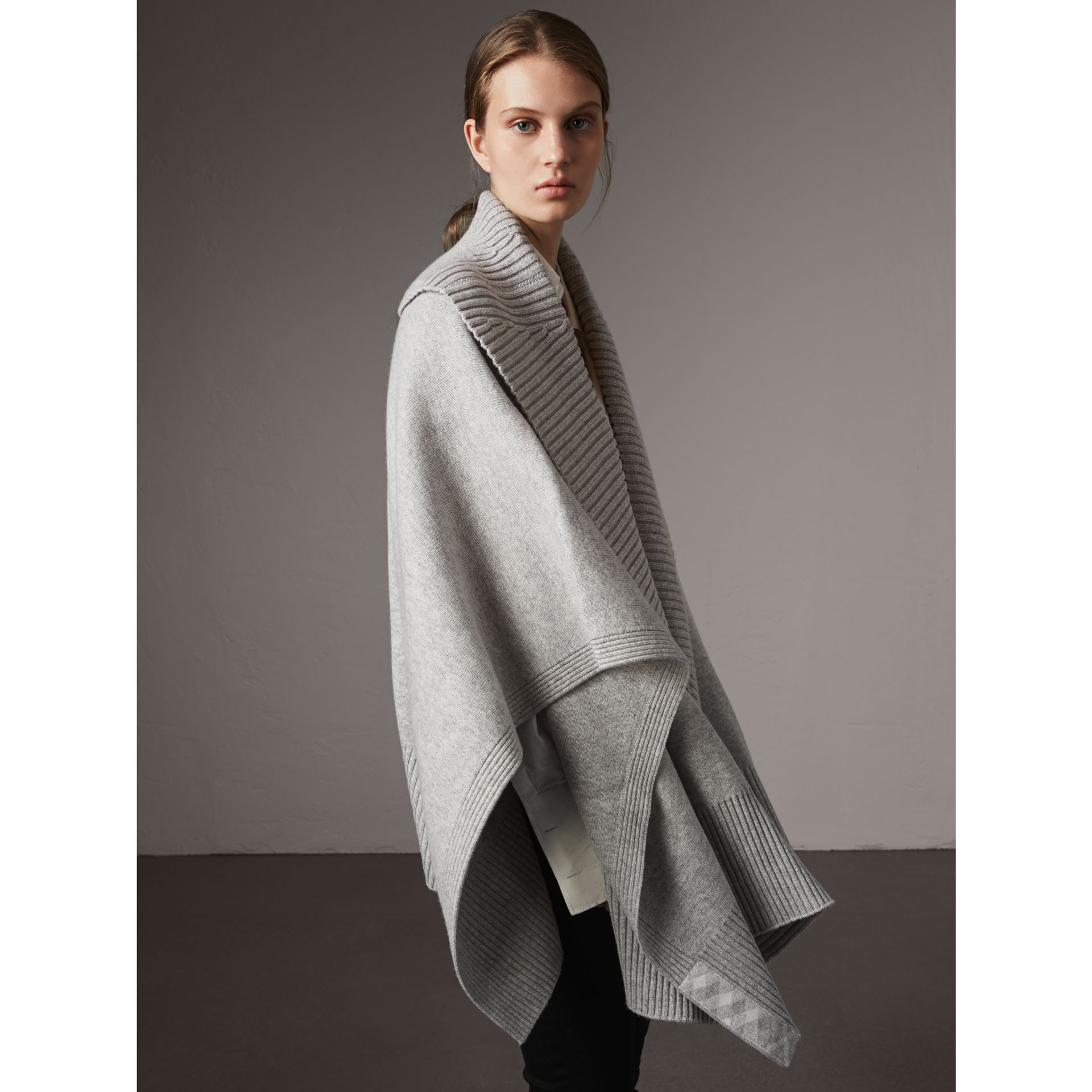 Shawl Collar Wool Cashmere Poncho in Mid Grey Melange - Women | Burberry Australia - gallery image 1