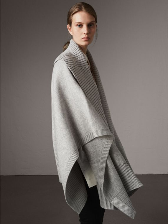 Shawl Collar Wool Cashmere Poncho in Mid Grey Melange