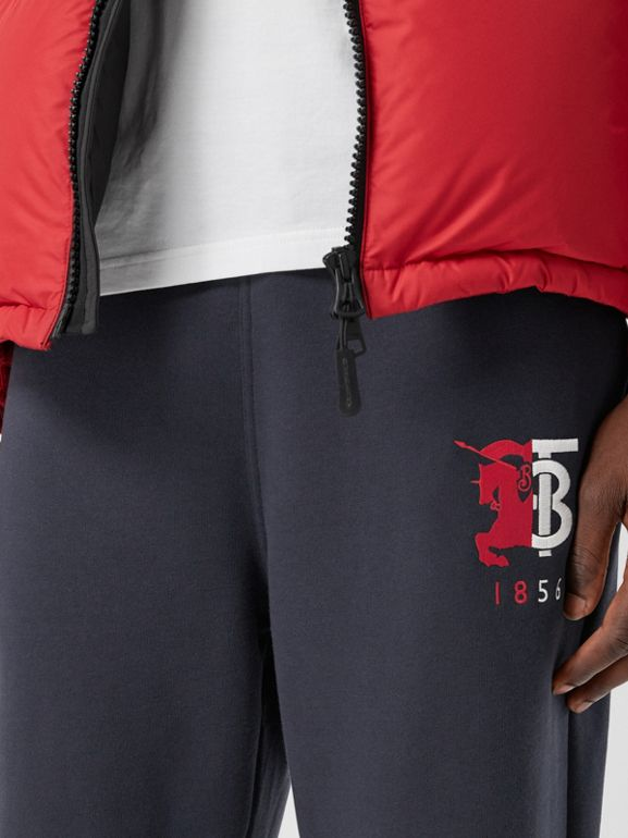 Logo Graphic Cotton Trackpants in Navy - Men | Burberry - cell image 1