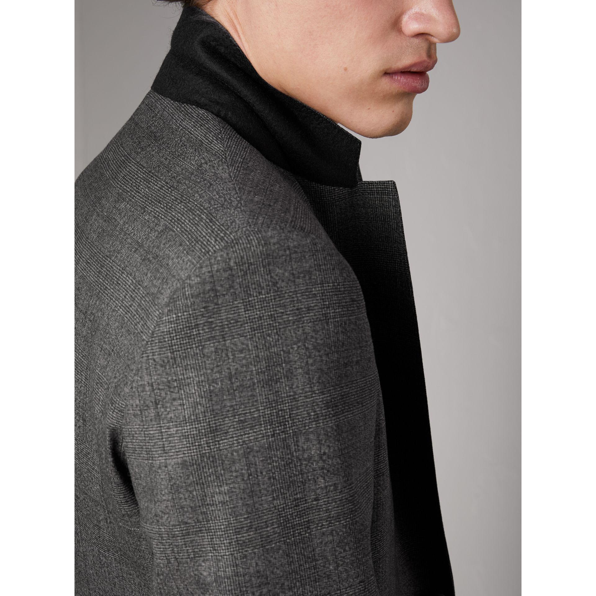 Slim Fit Wool Three-piece Suit in Dark Grey Melange - Men | Burberry - gallery image 6