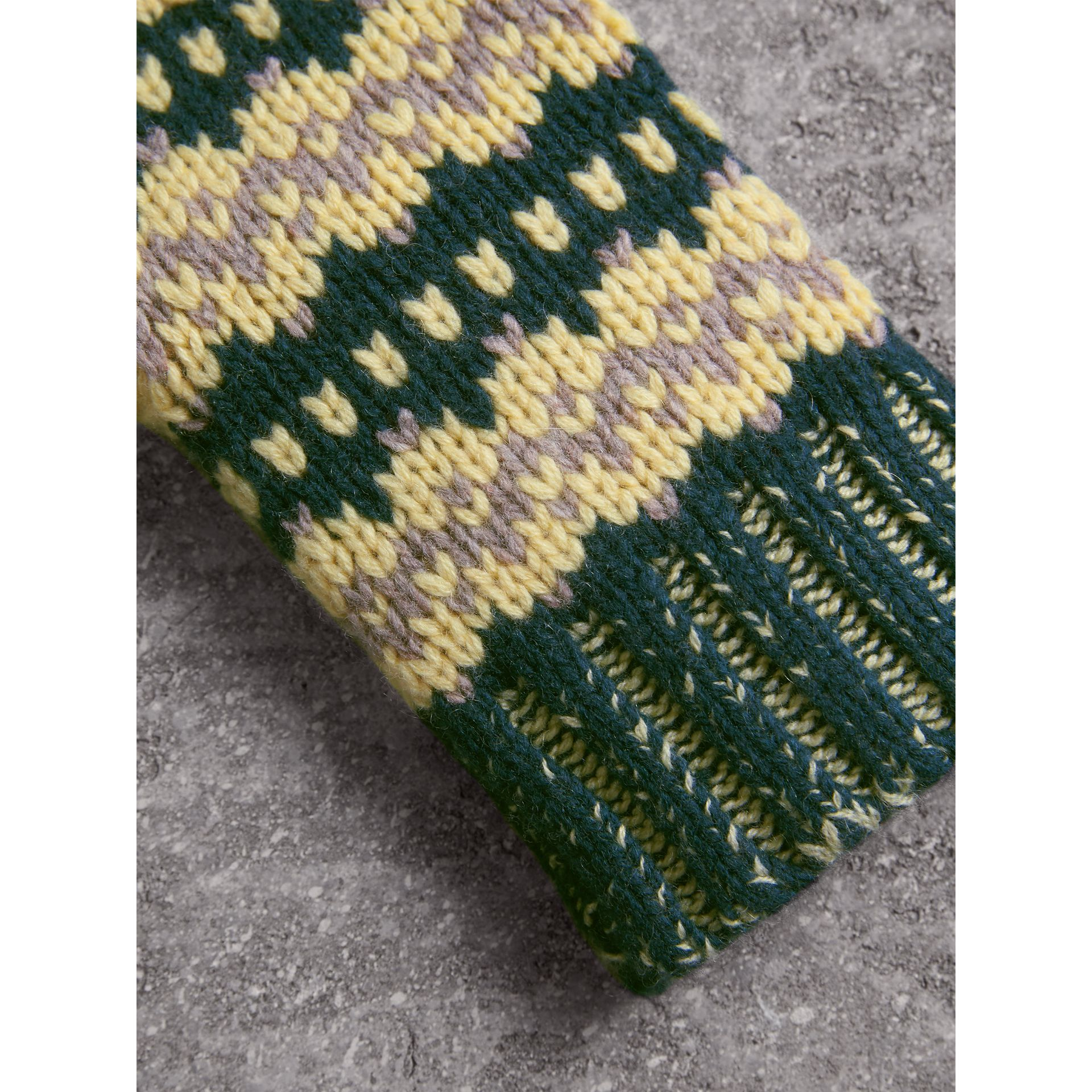 Fair Isle Cashmere Wool Blend Fingerless Gloves in Pine Green | Burberry - gallery image 1