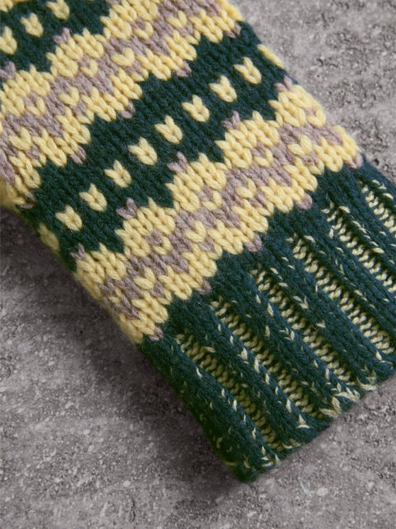 Fair Isle Cashmere Wool Blend Fingerless Gloves in Pine Green | Burberry - cell image 1