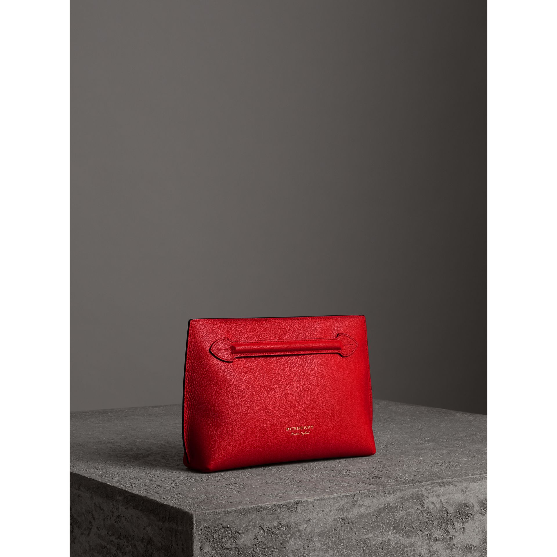 Grainy Leather Wristlet Clutch in Bright Red - Women | Burberry - gallery image 4