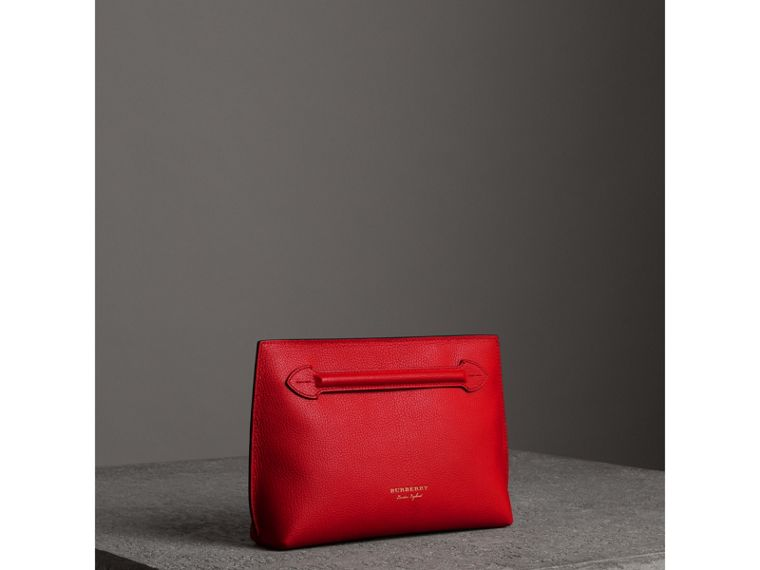 Grainy Leather Wristlet Clutch in Bright Red - Women | Burberry United Kingdom - cell image 4