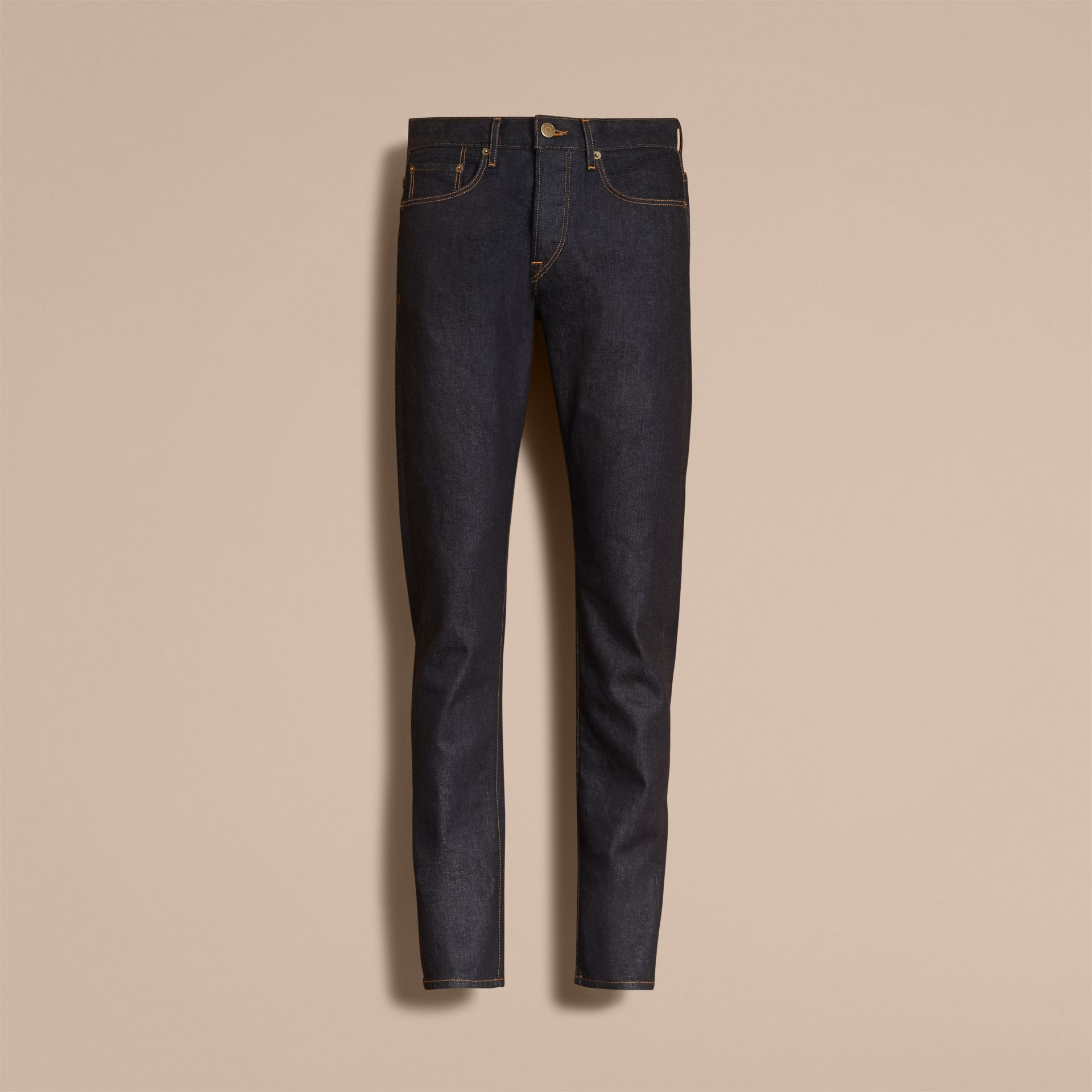 Relaxed Fit Comfort Stretch Indigo Japanese Denim Jeans in Dark - Men | Burberry - gallery image 3