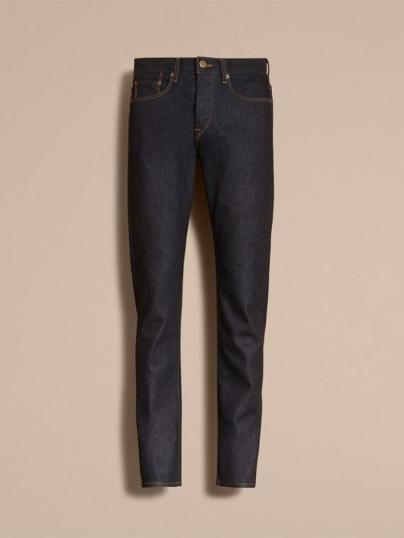 Relaxed Fit Comfort Stretch Indigo Japanese Denim Jeans - Men | Burberry - cell image 3