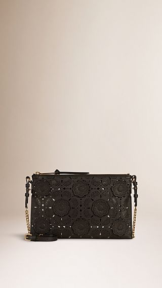 Laser-cut Floral Lace Leather Clutch Bag