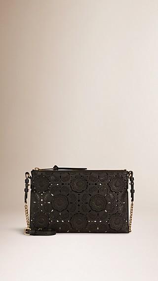 Laser-cut Floral Lace Leather Clutch Bag