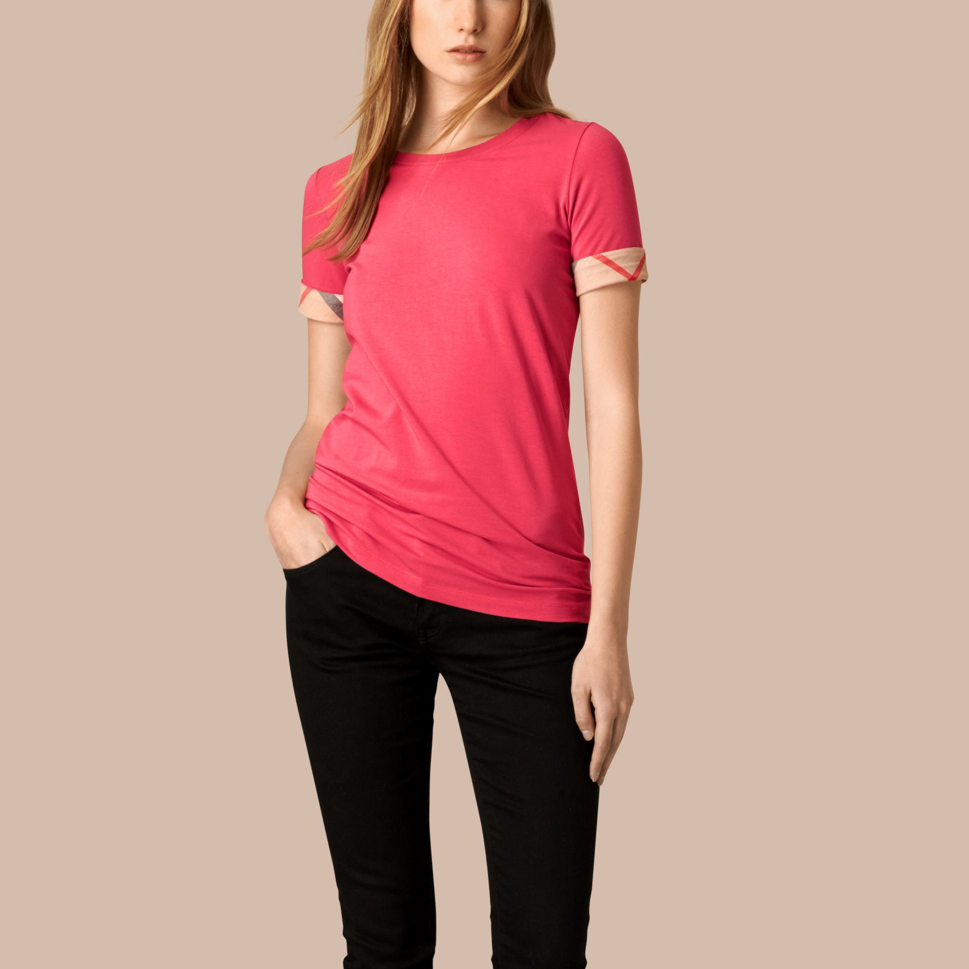 Bright rose Check Cuff Stretch Cotton T-Shirt Bright Rose - gallery image 1