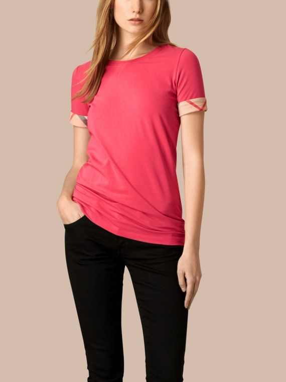 Check Cuff Stretch Cotton T-Shirt Bright Rose