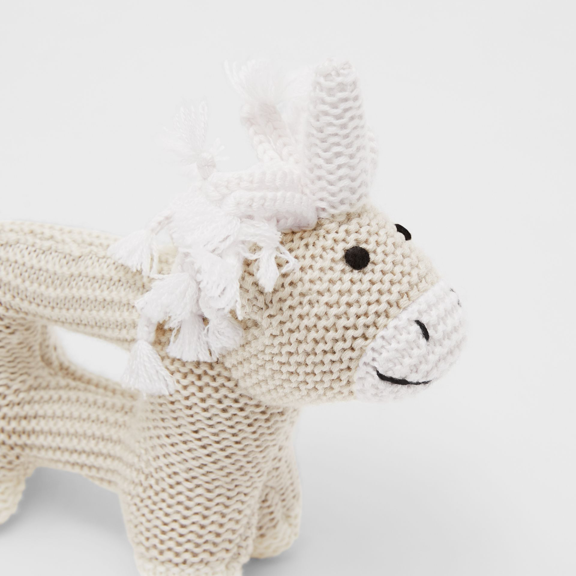 Unicorn Wool Silk Rattle in Oatmeal Melange - Children | Burberry United States - gallery image 1