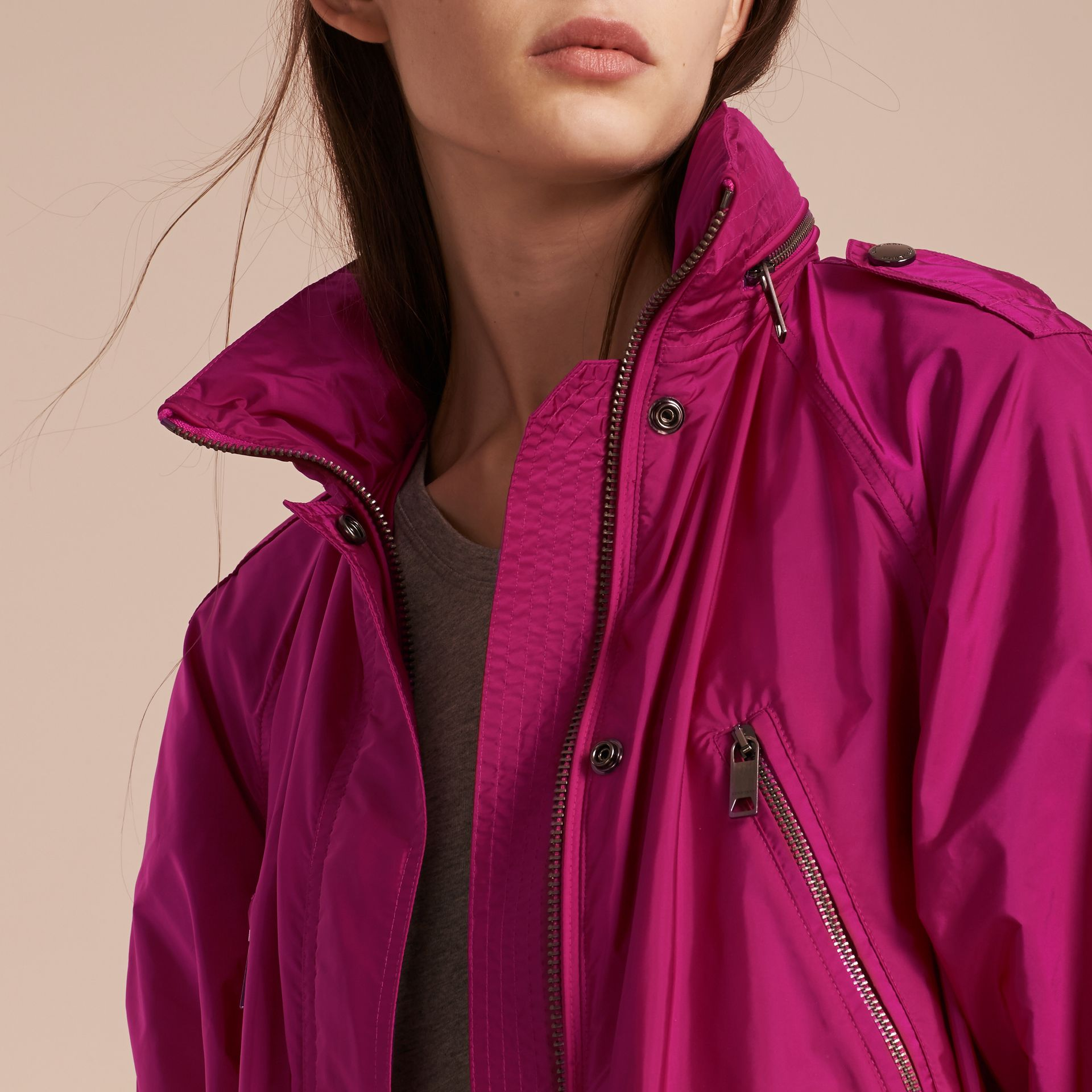 Showerproof Parka Jacket with Packaway Hood in Fuchsia - gallery image 5