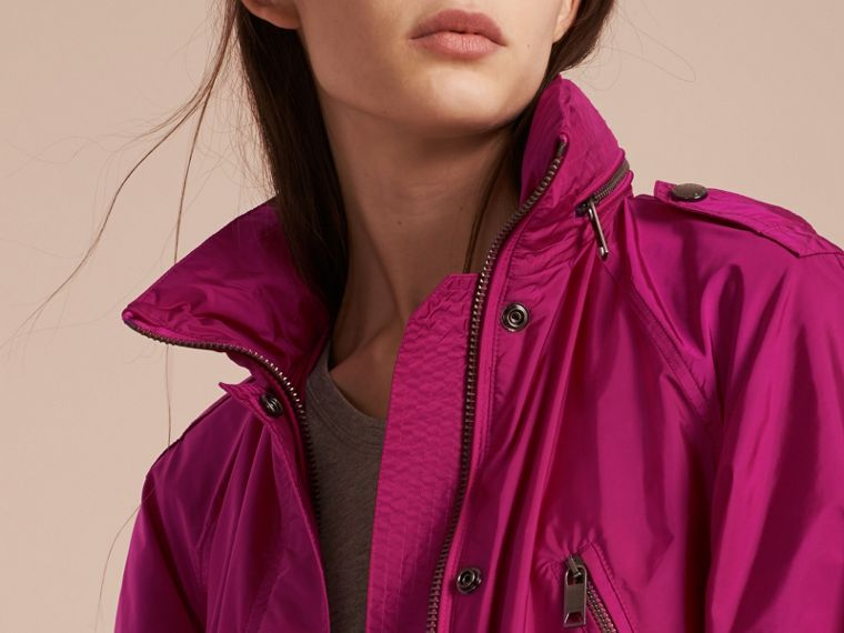 Fuchsia Showerproof Parka Jacket with Packaway Hood Fuchsia - cell image 4
