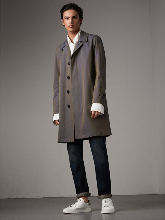 Tropical Gabardine Car Coat in Storm Blue - Men | Burberry Singapore