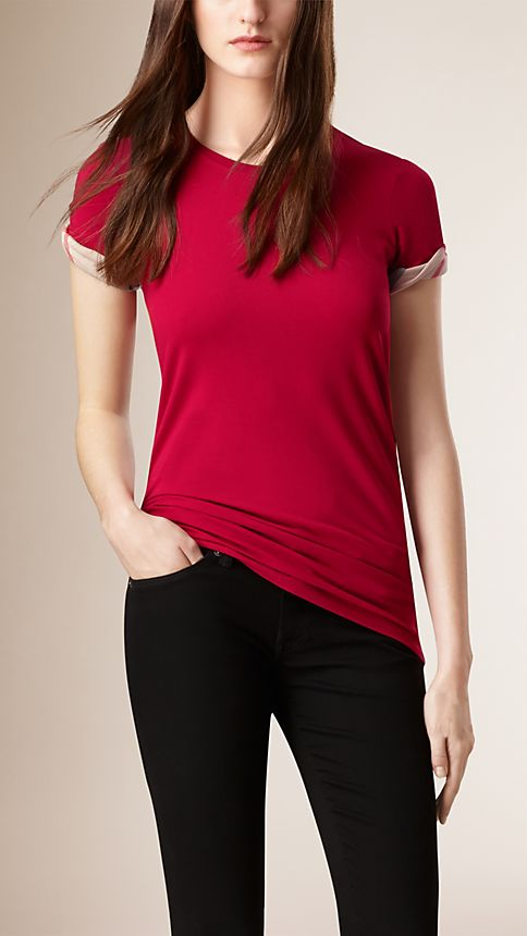 Lacquer red Check Cuff Stretch Cotton T-Shirt - Image 1