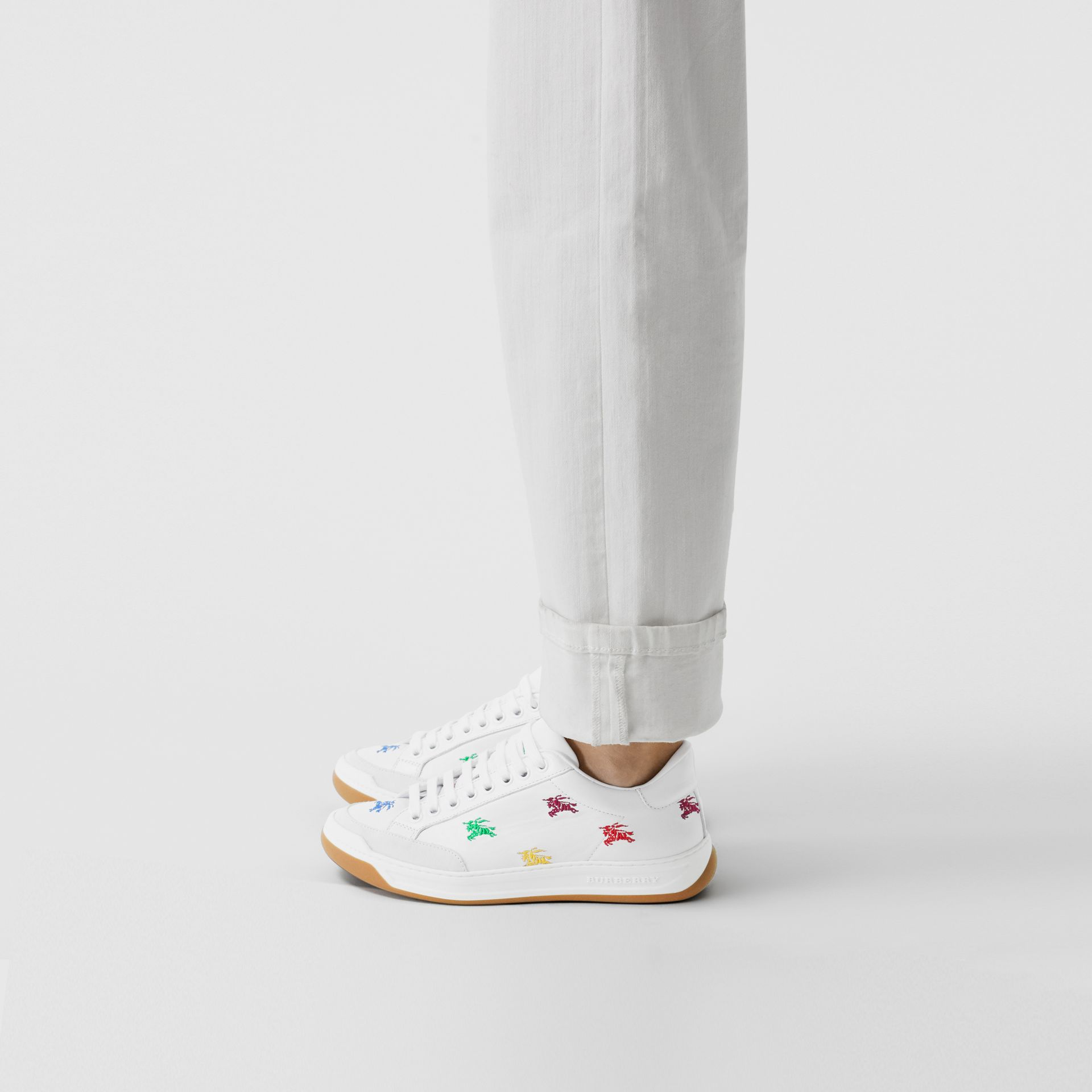 Equestrian Knight Embroidered Leather Sneakers in Optic White/multicolour - Women | Burberry - gallery image 2