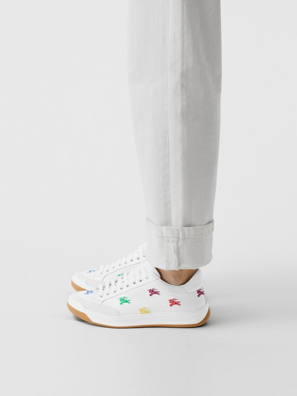 Equestrian Knight Embroidered Leather Sneakers in Optic White/multicolour - Women | Burberry - cell image 2