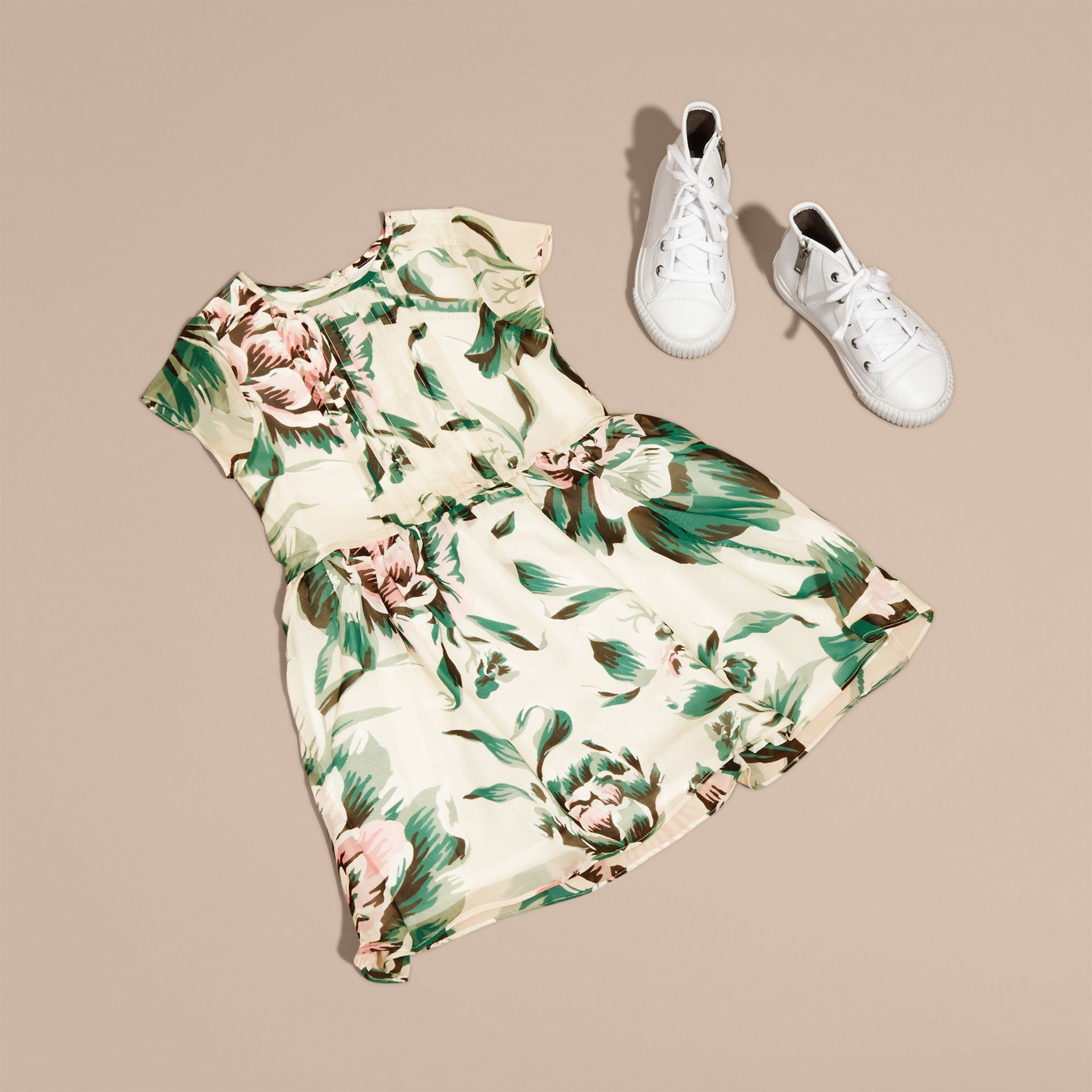 Emerald green Peony Rose Print Silk Dress Emerald Green - gallery image 5