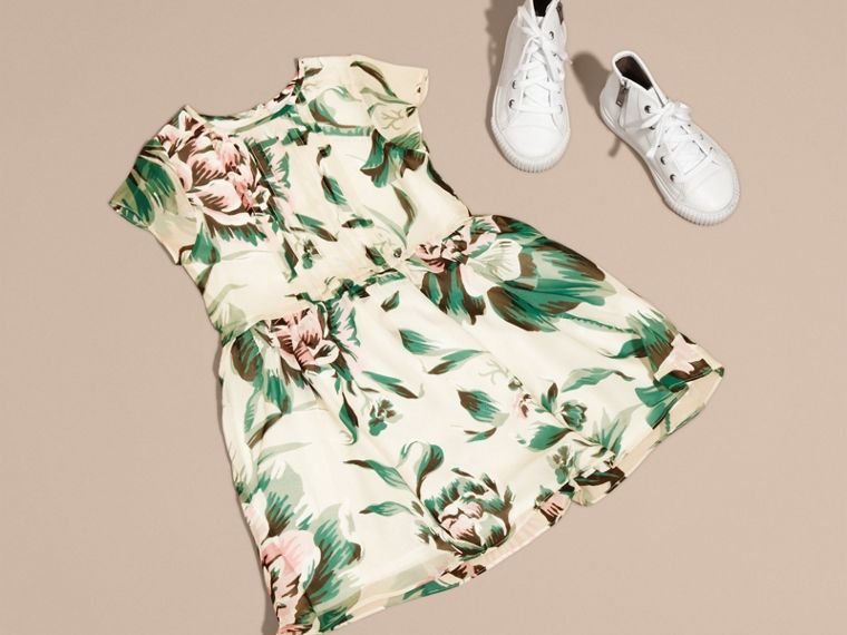 Emerald green Peony Rose Print Silk Dress Emerald Green - cell image 4