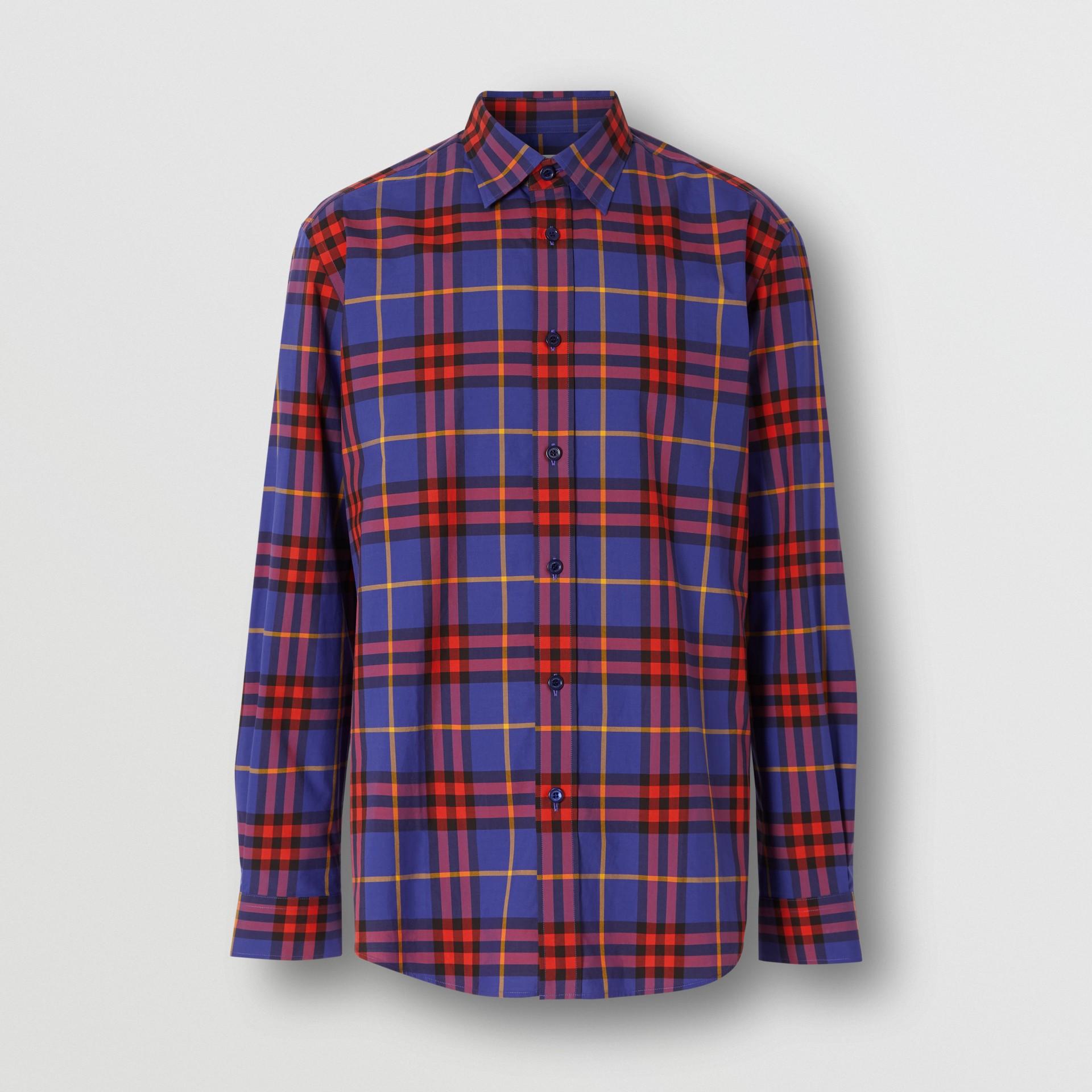 Check Cotton Poplin Shirt in Regency Purple - Men | Burberry - gallery image 3