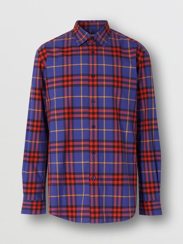 Check Cotton Poplin Shirt in Regency Purple - Men | Burberry - cell image 3