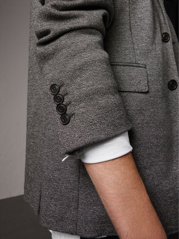 Soho Fit Cotton Wool Jersey Tailored Jacket in Charcoal Melange - Men | Burberry - cell image 1