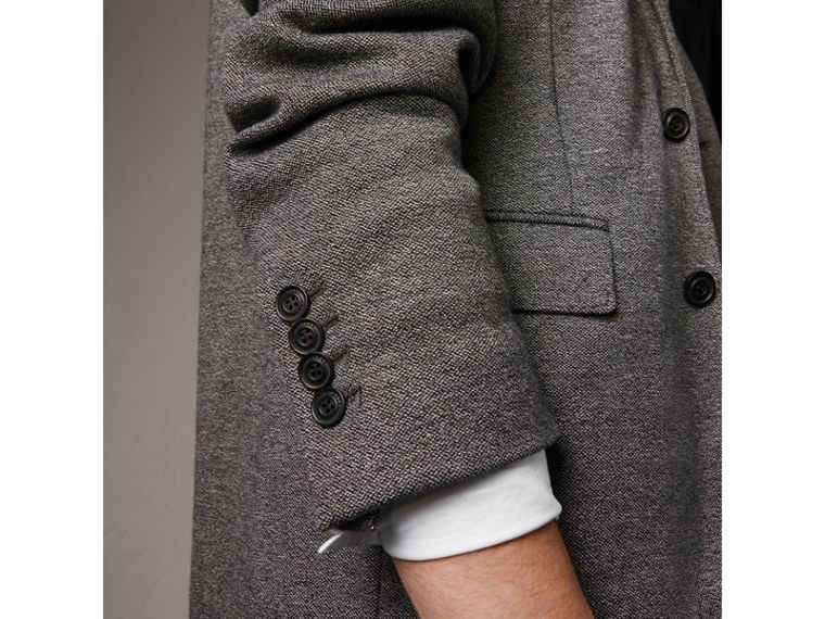 Soho Fit Cotton Wool Jersey Tailored Jacket in Charcoal Melange - Men | Burberry Hong Kong - cell image 1