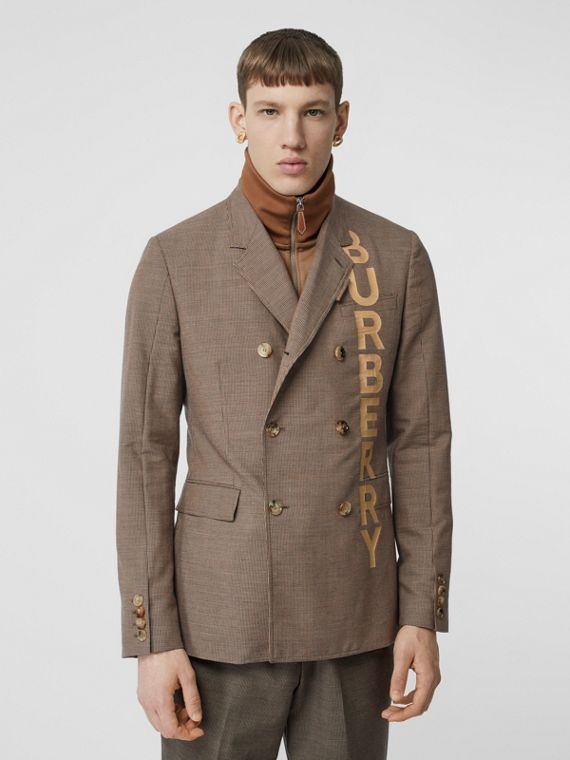 Slim Fit Logo Print Cotton Wool Blend Tailored Jacket in Beige