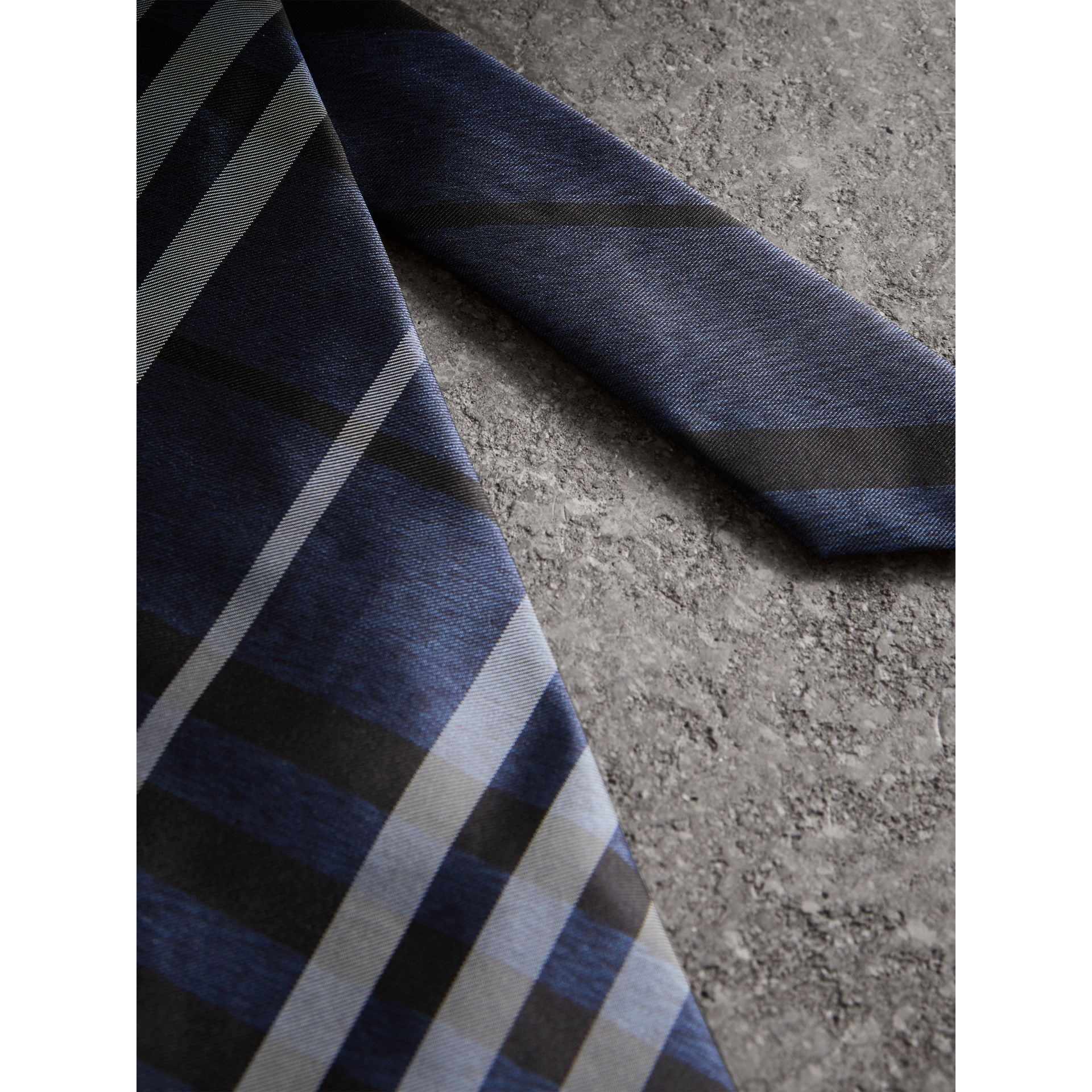 Modern Cut Check Silk Tie in Navy - Men | Burberry Hong Kong - gallery image 1